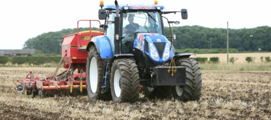 Ian Elsworth sowing Delilah stubble turnips at his farm at Raskelf near Easingwold.